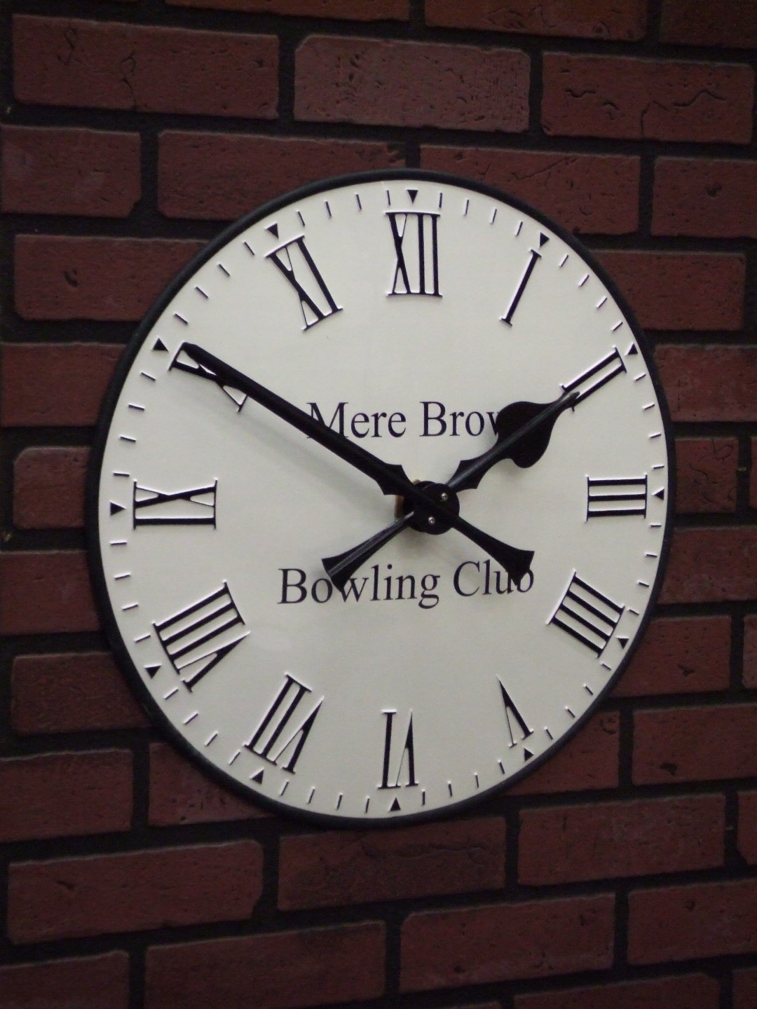 Bowling Club clock with signwriting