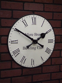 Bowling Club clock with signwriting