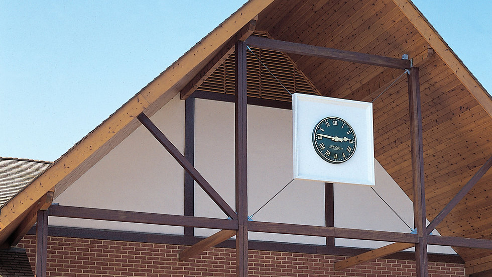 Large exterior clocks on plinths