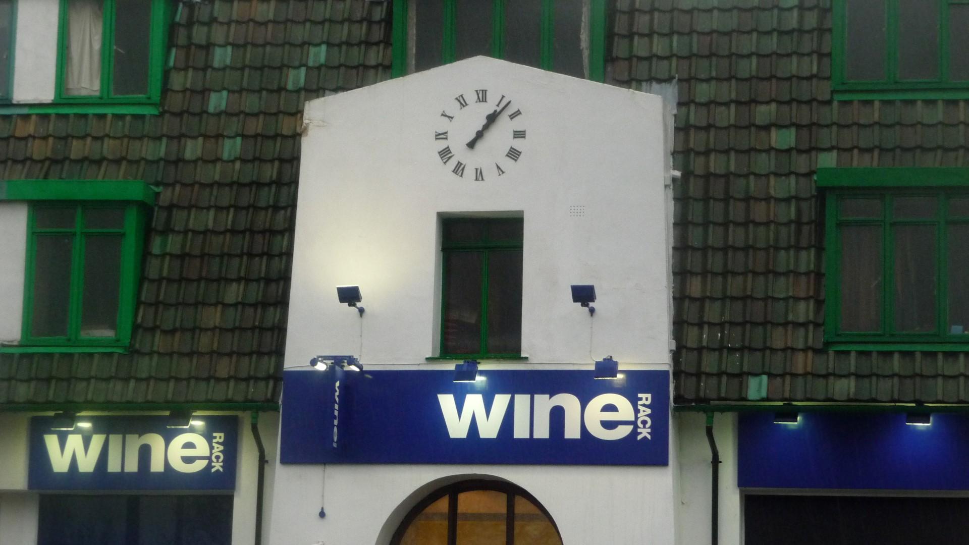 Clock above shop front