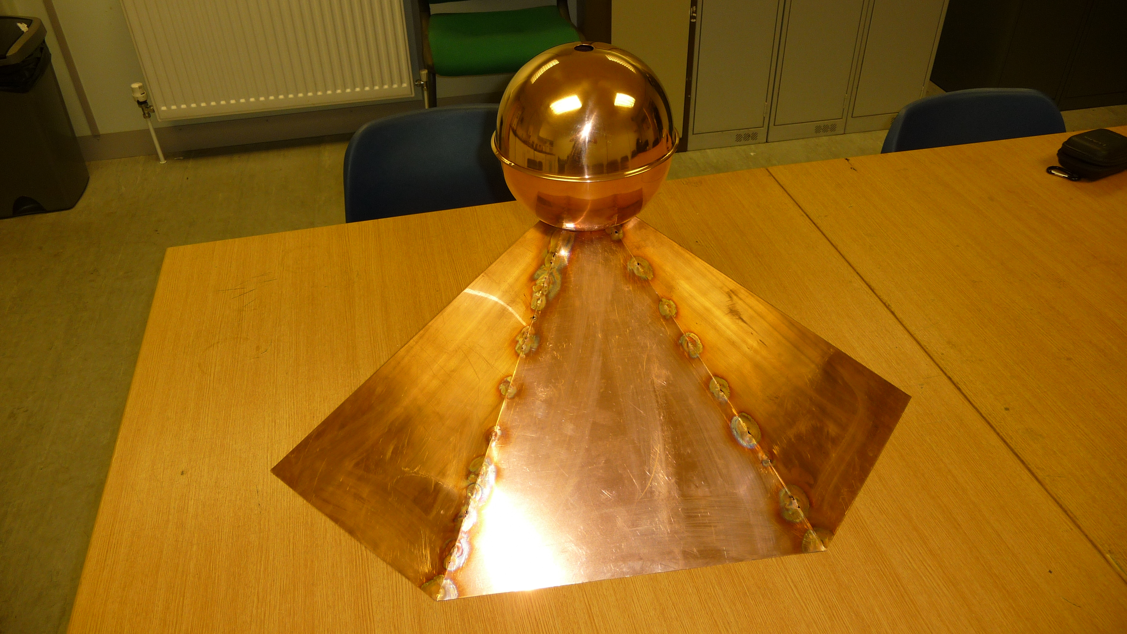 Copper finial with skirt