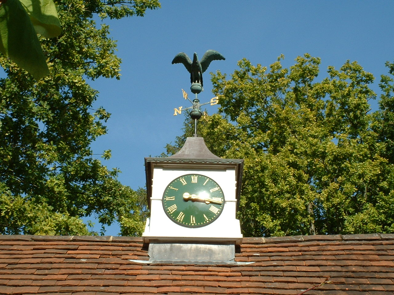 Clock towers with weathervanes