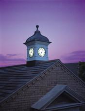 Clock tower with illuminated clocks