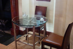 Glass top clock table