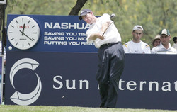 Promotional clock at golf tournament