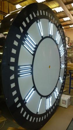 Front illuminated exterior clock