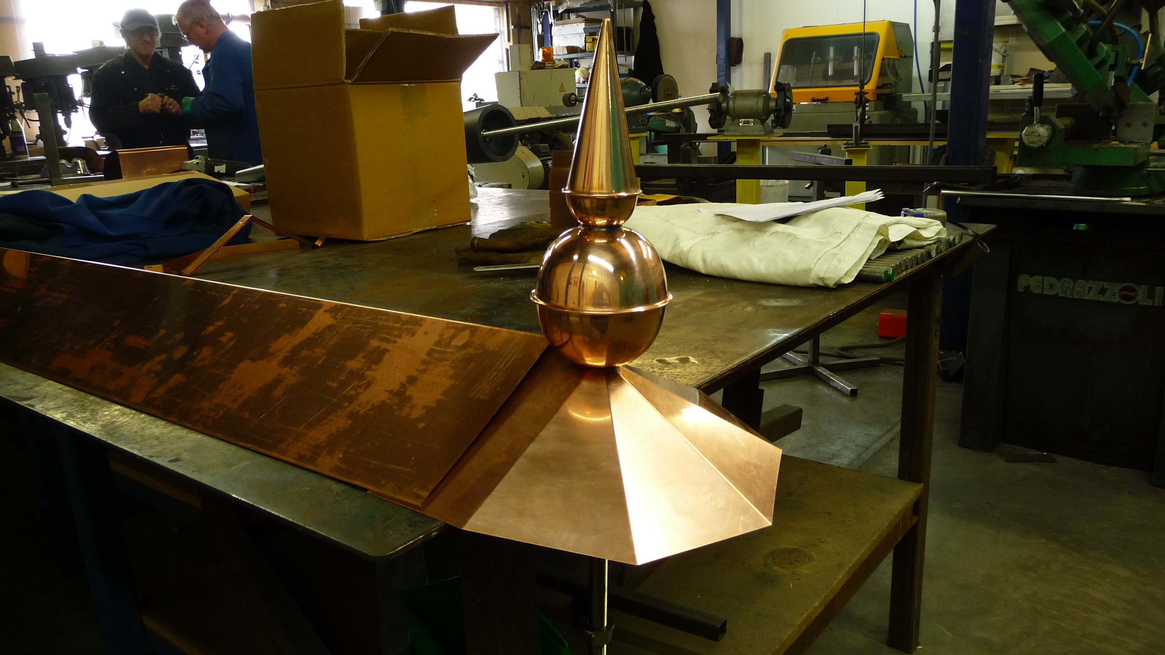 Copper finials with capping