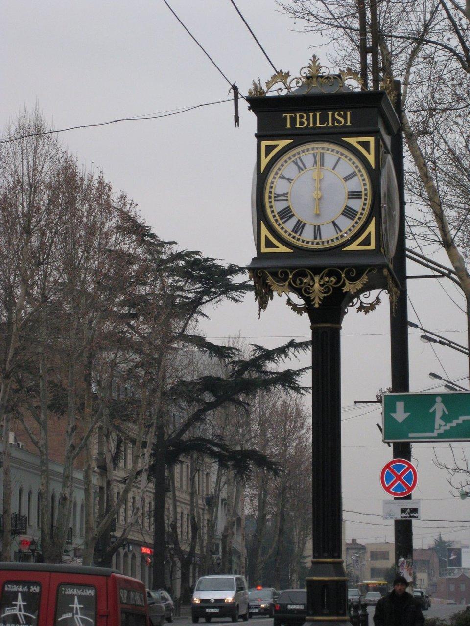 Pillar clock with town name