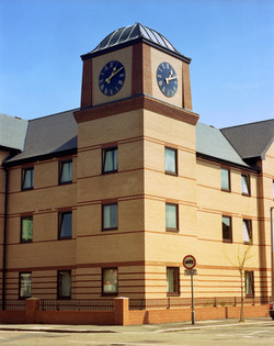 Large exterior clocks for hotel