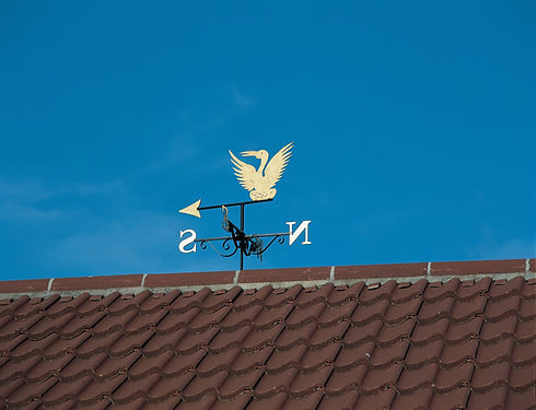 Silhouette weathervane with gold leaf detail
