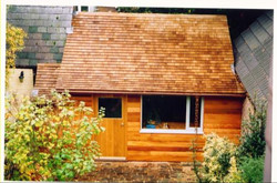 Copper guttering on a garden office.