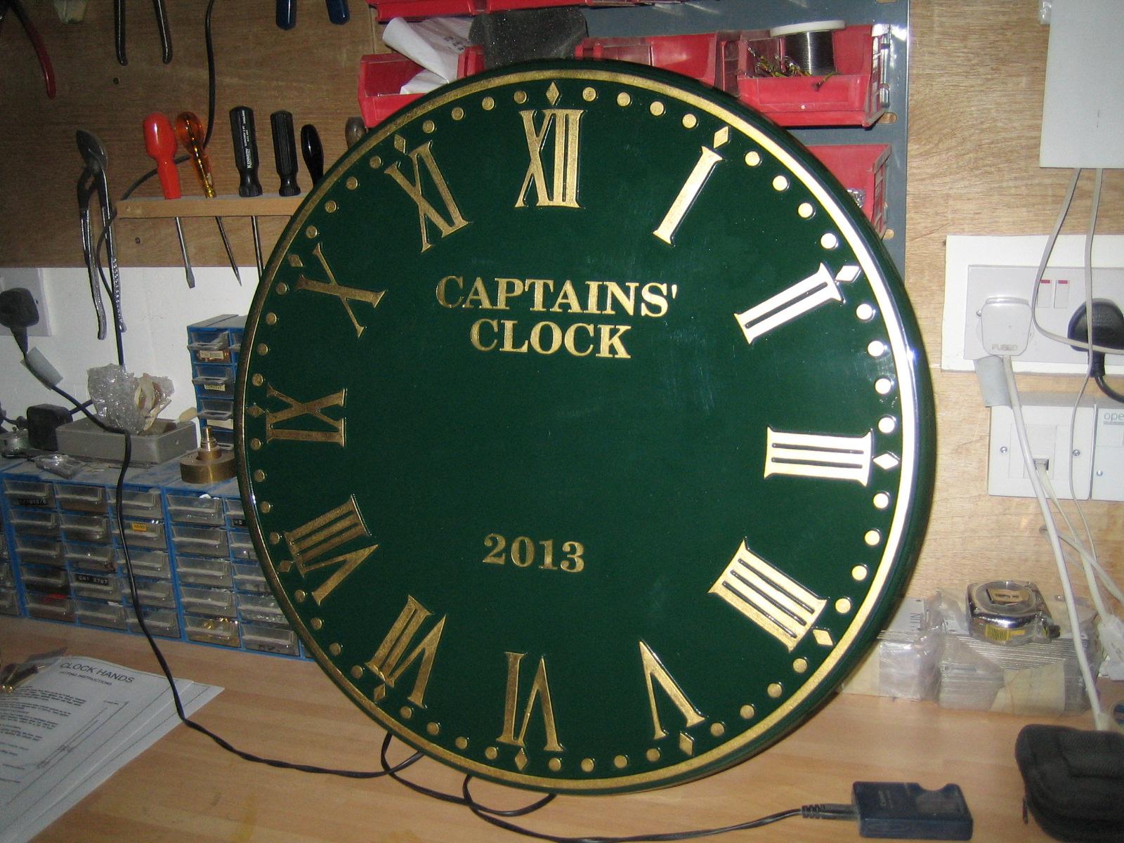 Green Roman Clock for Golf Club