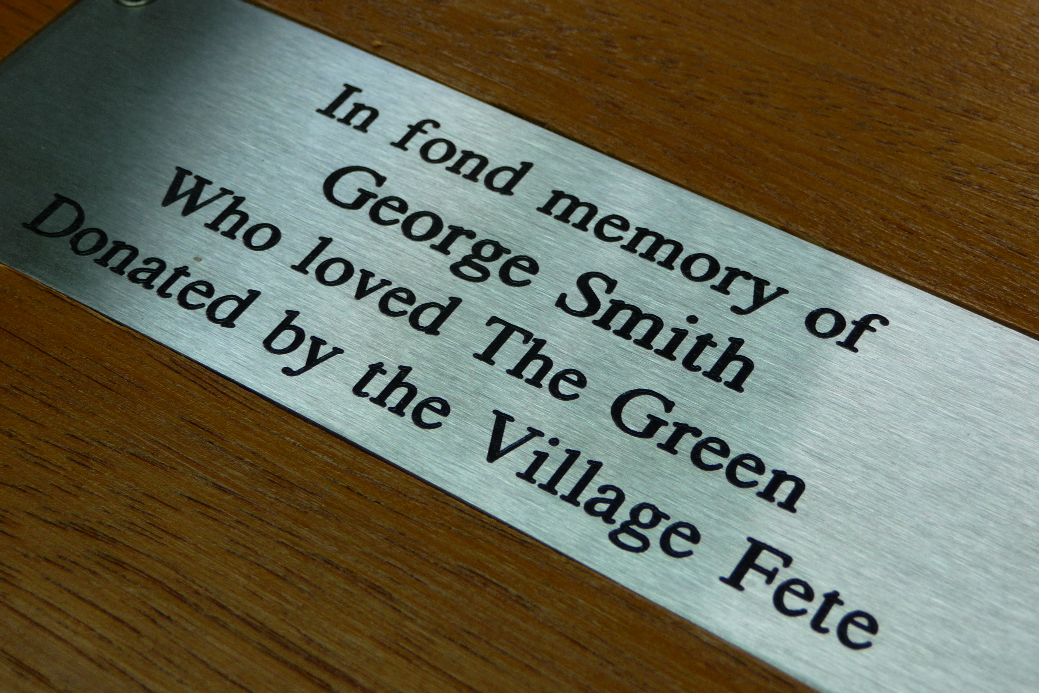 Stainless Steel engraved plaque