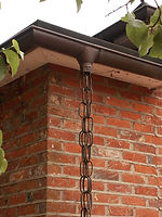 copper metal gutter, copper rain chain, copper hopper heads, copper adornments
