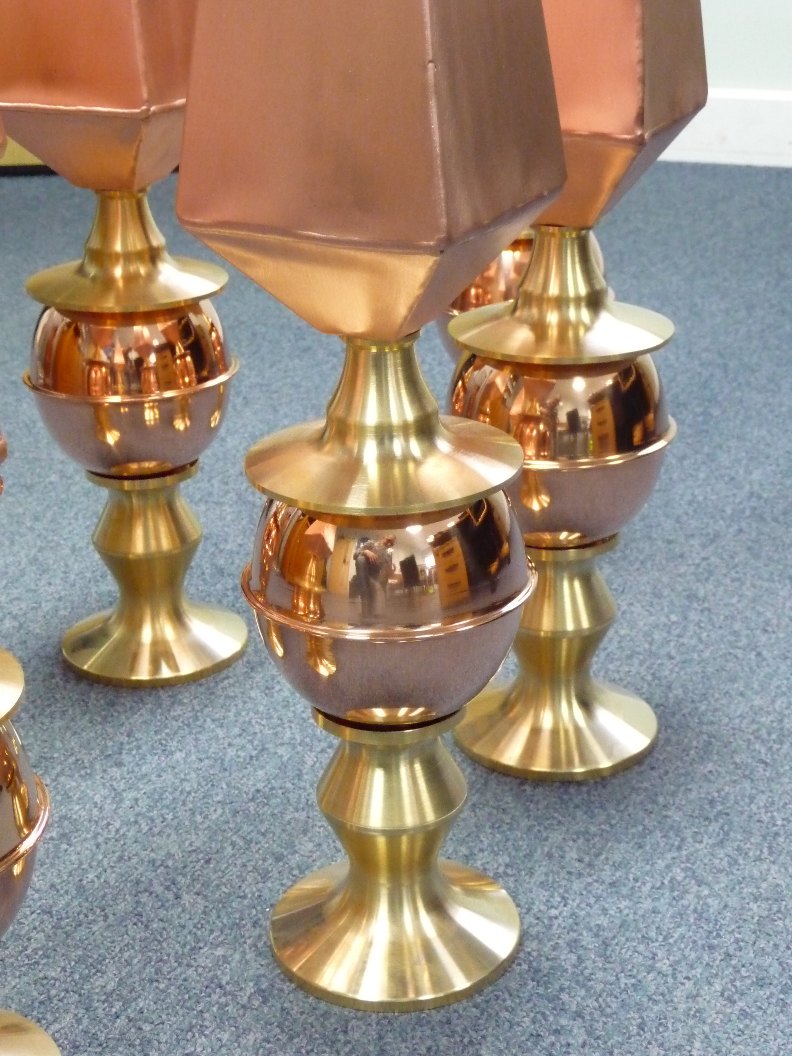 Copper and brass finials