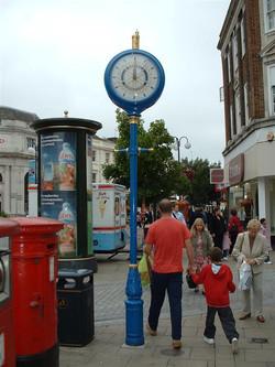 Blue Albert Pillar Clock