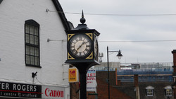 Pillar clock in high street