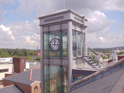 Clock on lift shaft