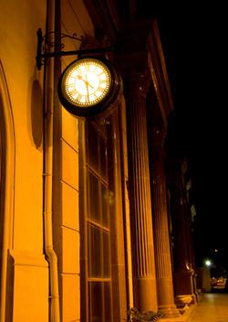 Drum clock lit up at night