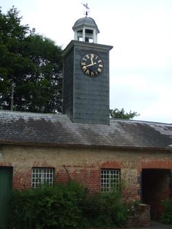 Restored clock on tower