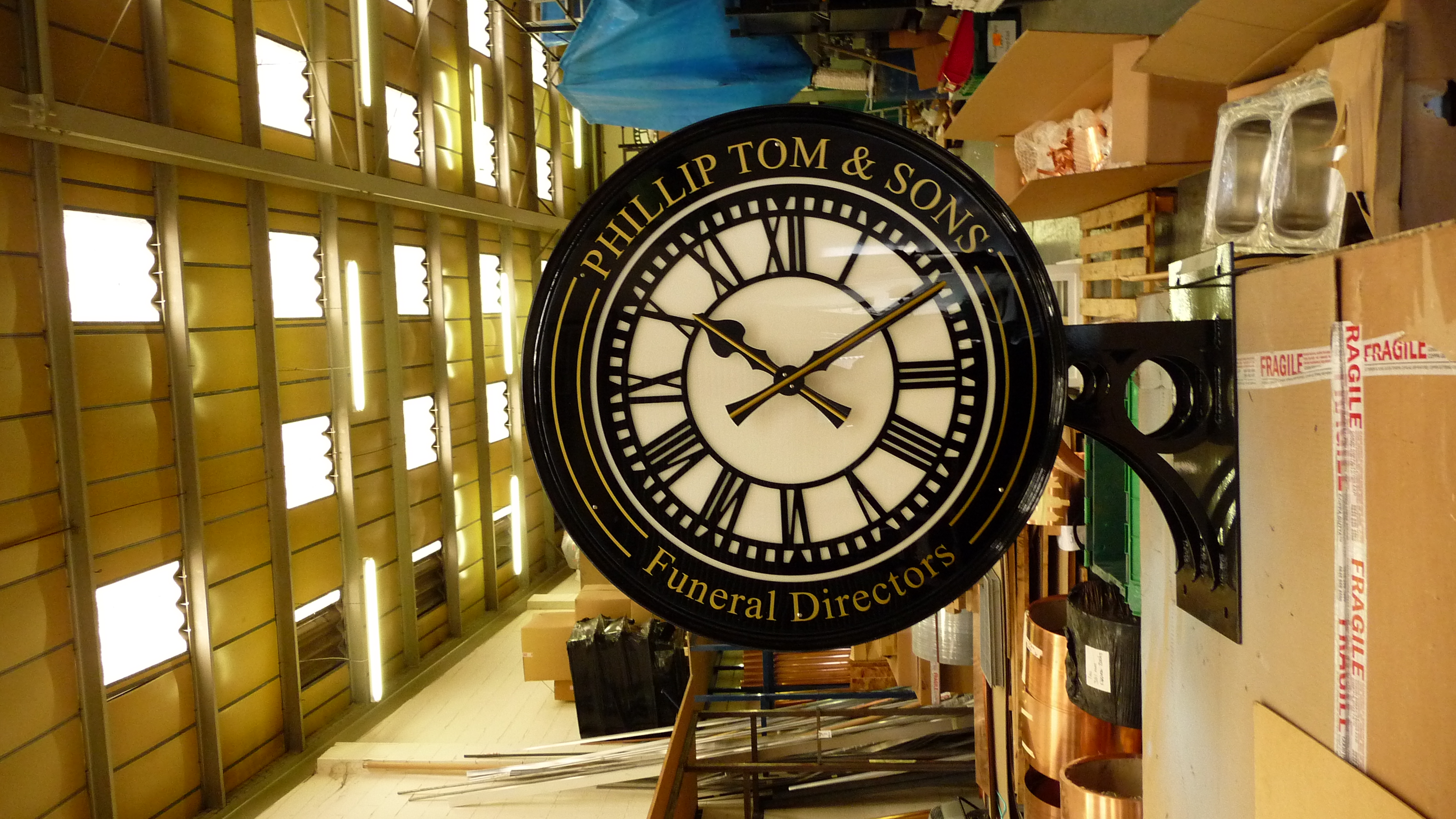 Drum clock ready for despatch