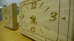 Laser engraved wood clock