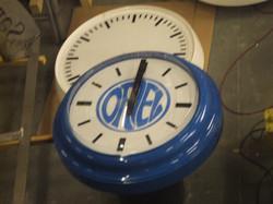 School clock with logo