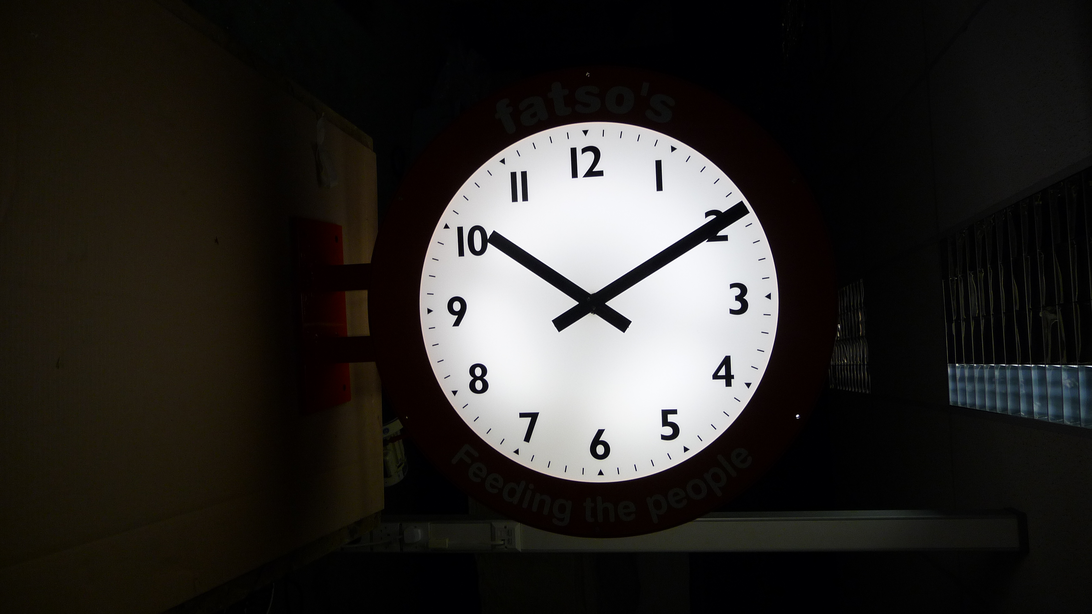 Large exterior clock back lit