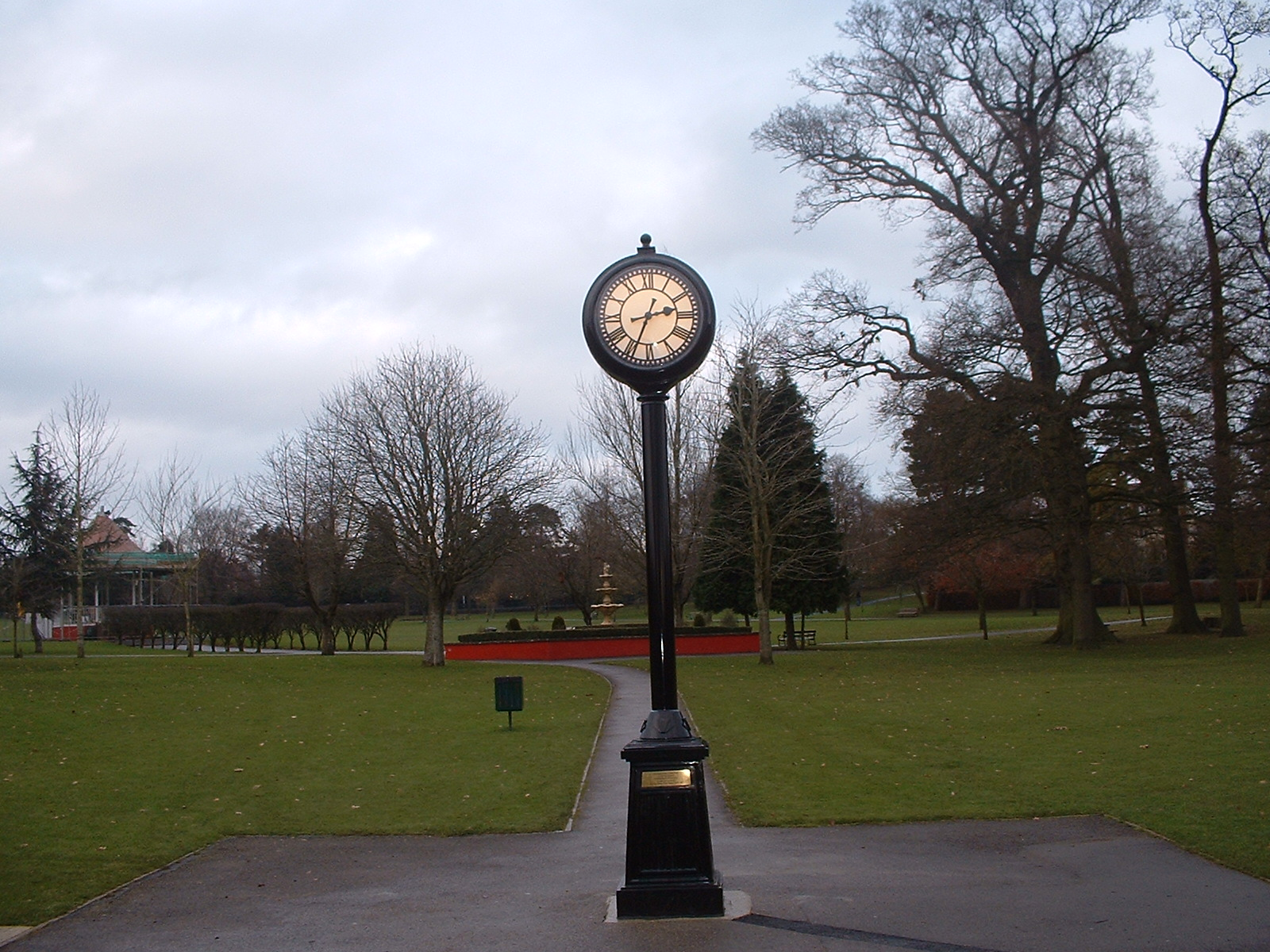 Pillar clock in a park
