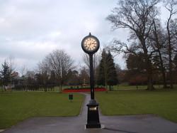Pillar clock in a park