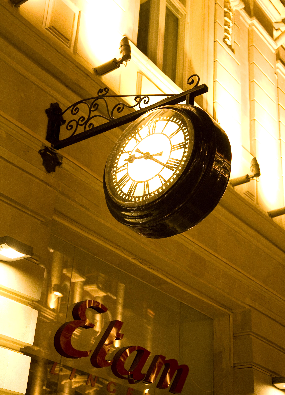 Drum clock illuminated at night