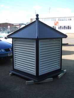 Roof turret with white louvres