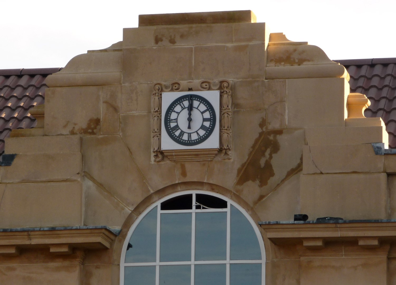 Exterior clock on school