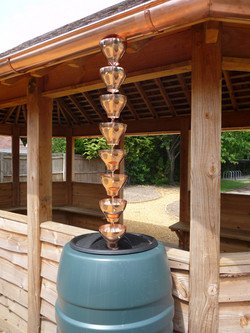 Copper guttering with rain cups