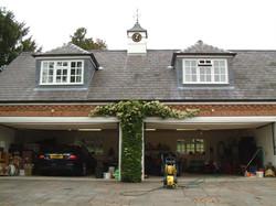 Clock tower on garage
