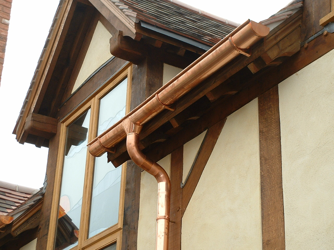 Copper guttering on new build house.