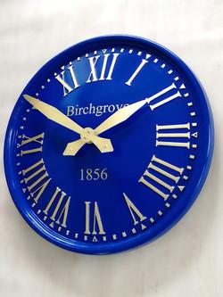 Sign written blue exterior clock