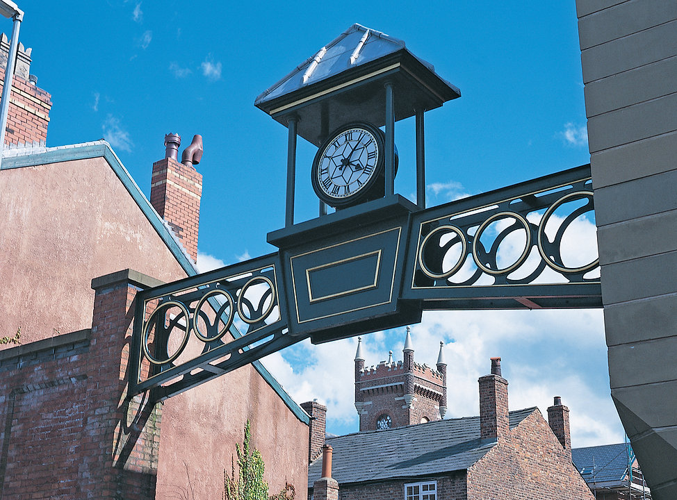 Large exterior clocks and clock features