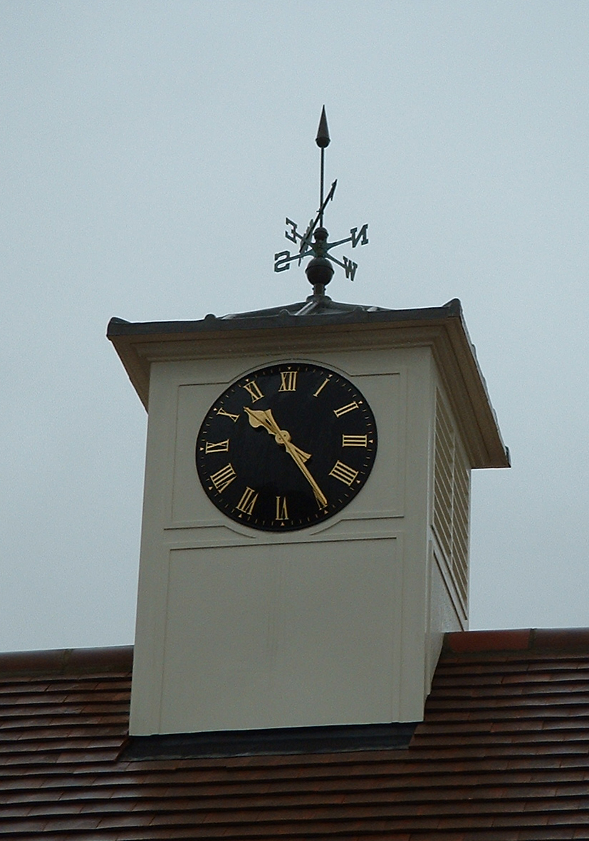 Roof turret with clock