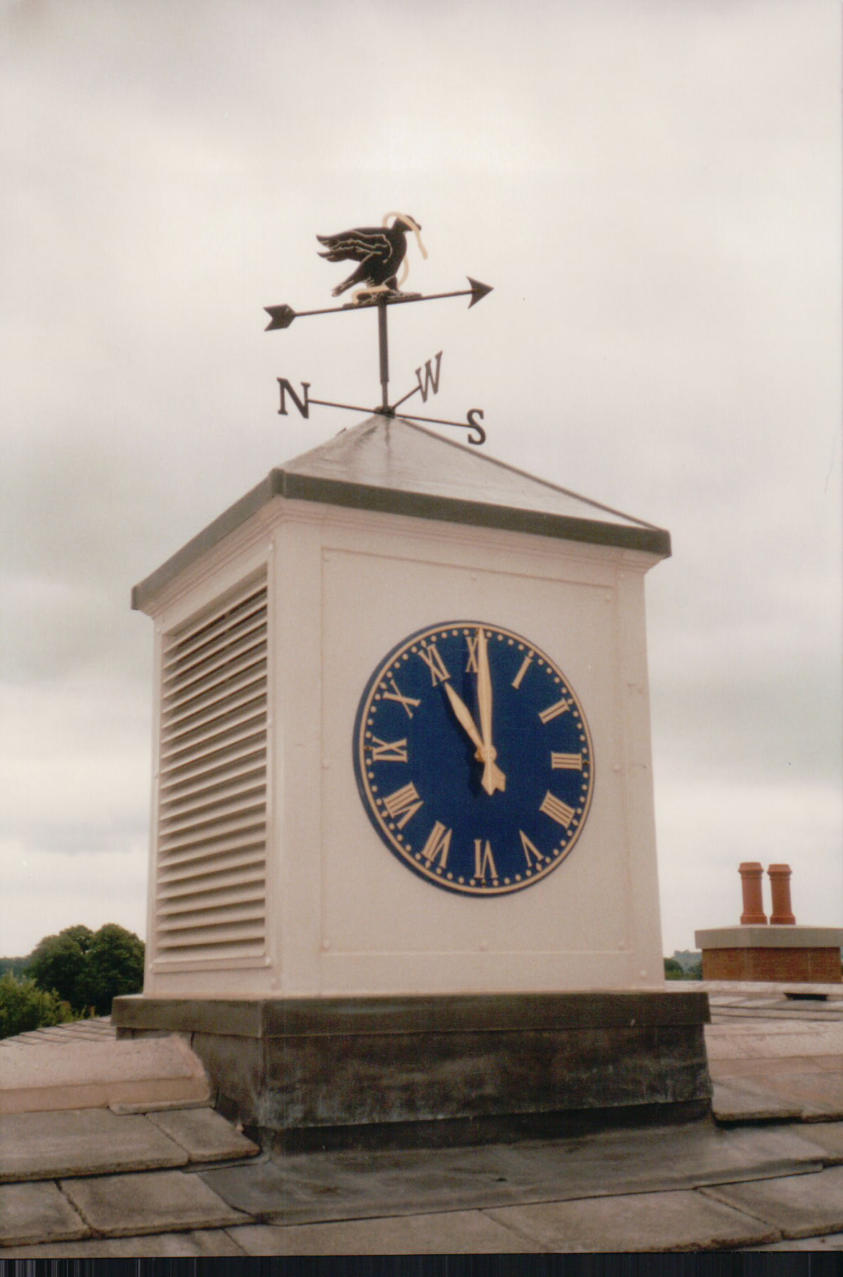 GRP clock tower with louvres