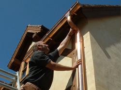 Installing copper guttering