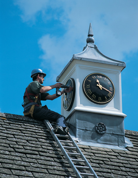 Clock tower and roof turret installation