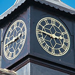 Skeleton exterior clock with centre star