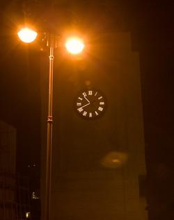 Illuminated clock on a school