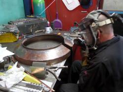 Bespoke copper downpipe trim