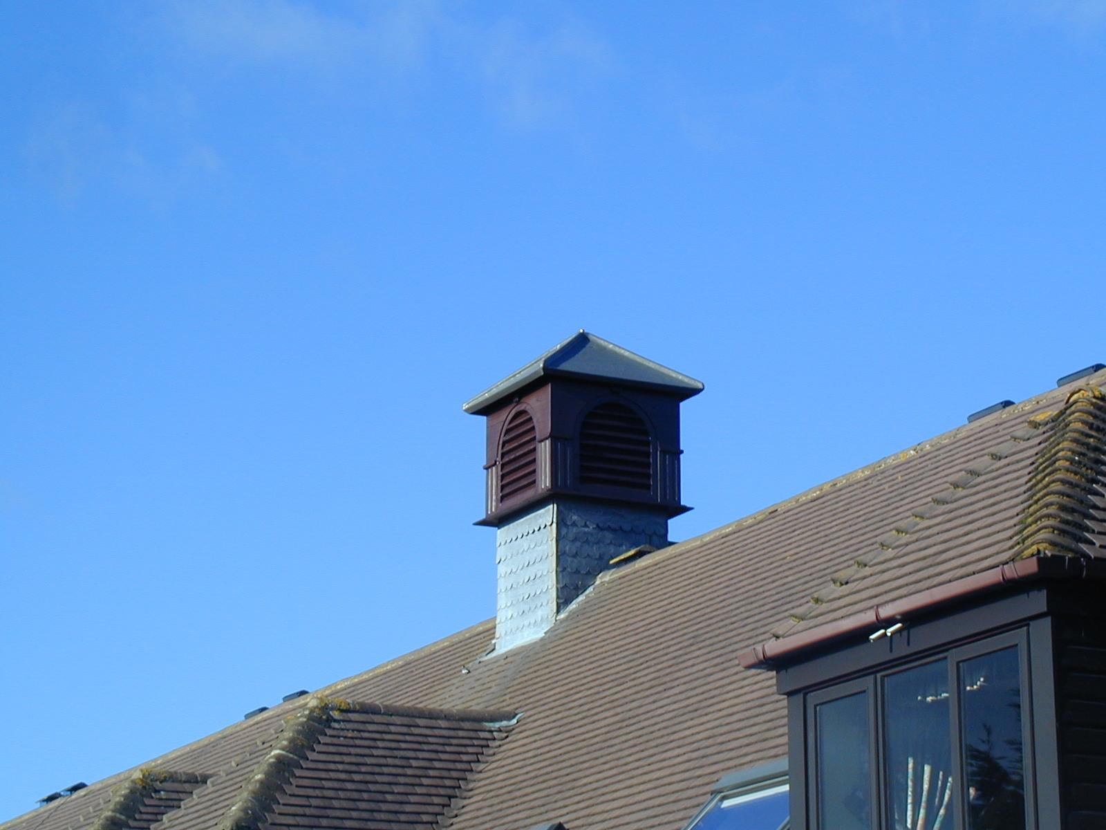 Dark wood roof turrets