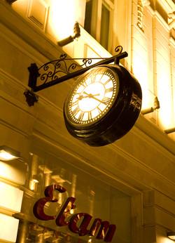 Drum clock outside shop