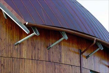 Curved copper guttering
