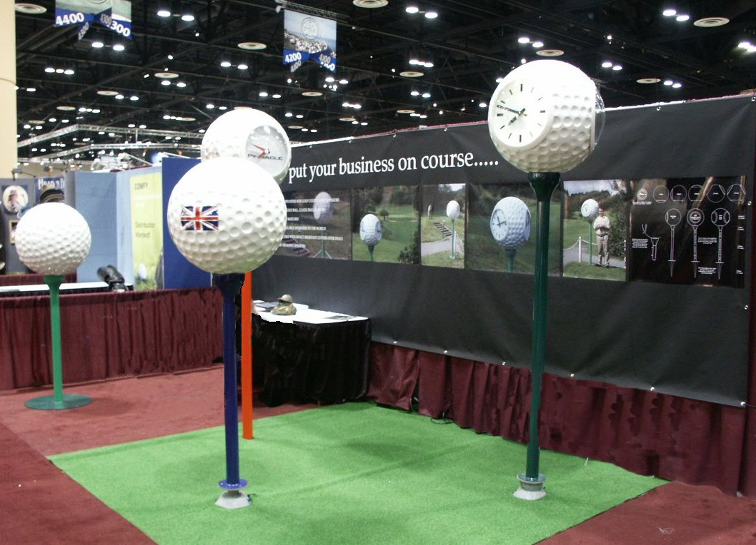 Golf ball clocks at exhibition