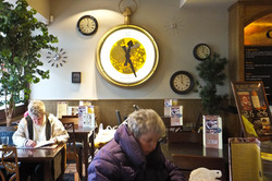 Clock feature on pub wall